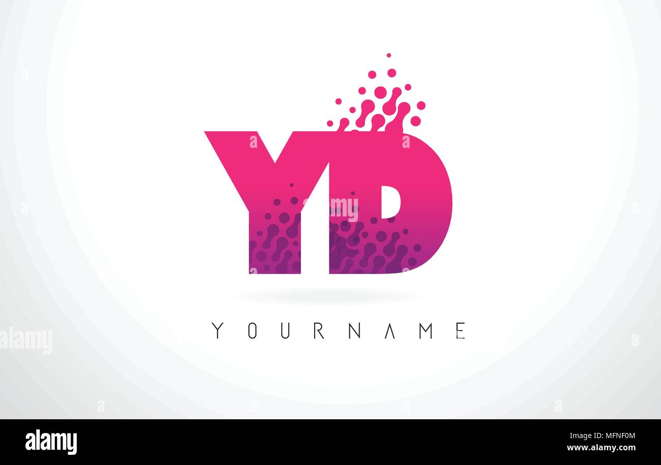 YD Y D Letter Logo with Pink Letters and Purple Color Particles Dots ...