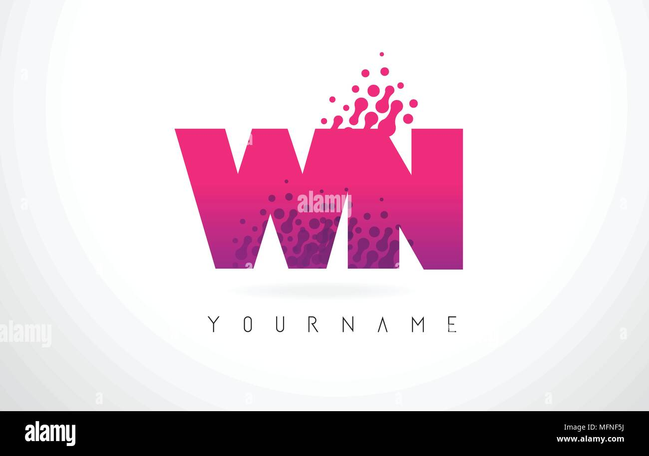 WN W N Letter Logo with Pink Letters and Purple Color Particles Dots ...