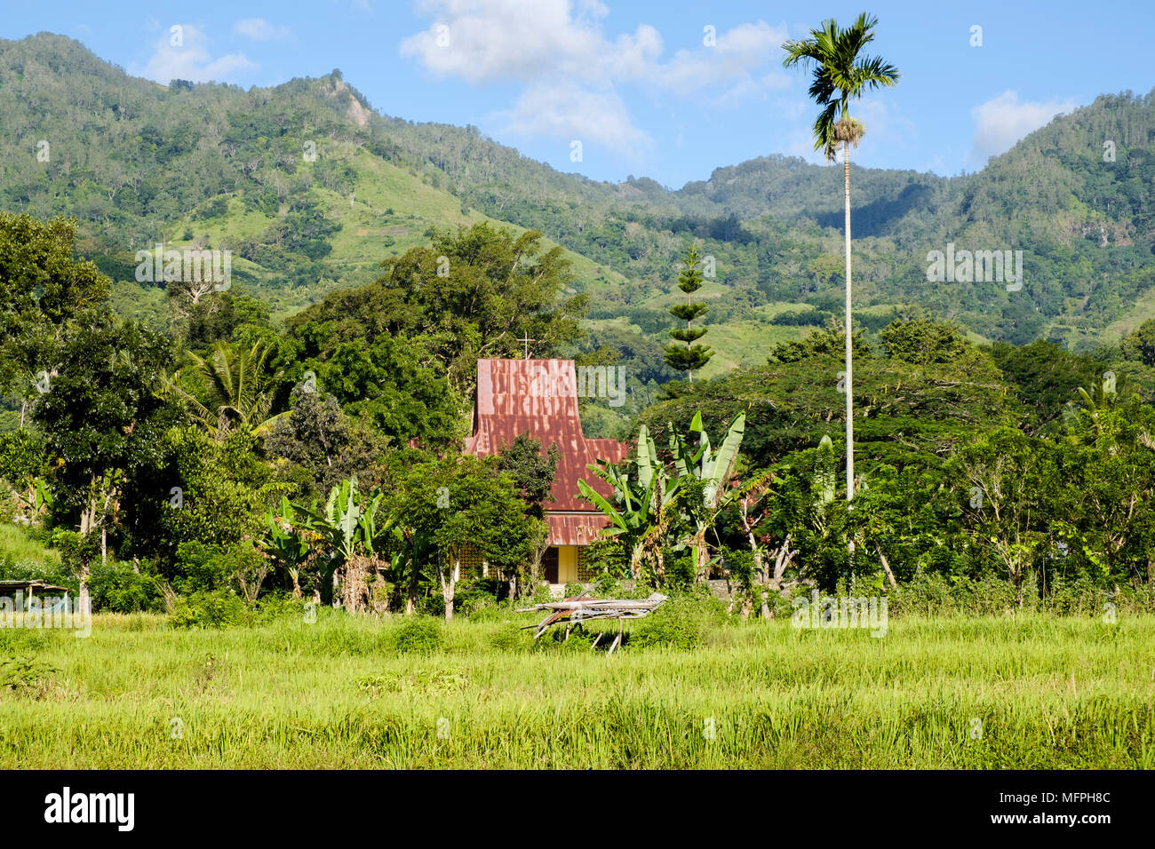 The Catholic church in the small village of Moni near Mount Kelimutu, Ende Regency, Flores Island, Indonesia. - Stock Image