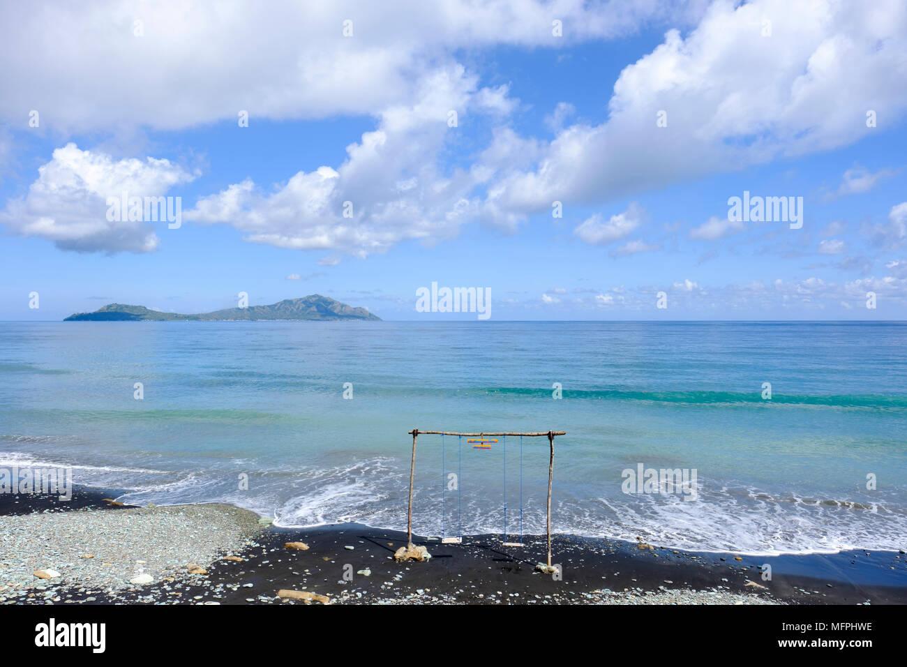 Blue Stone Beach (Pantai Penggajawa), Ende Regency, Flores Island, Indonesia. - Stock Image