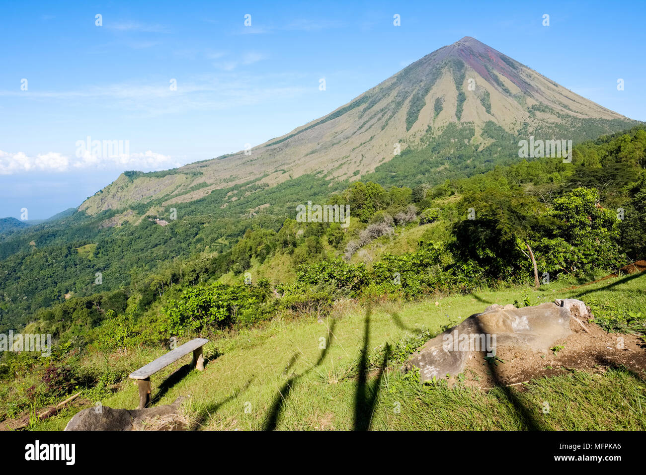 Mount Inerie (2,227 m), a volcano in the Bajawa district of Flores Island (East Nusa Tenggara), Indonesia. - Stock Image