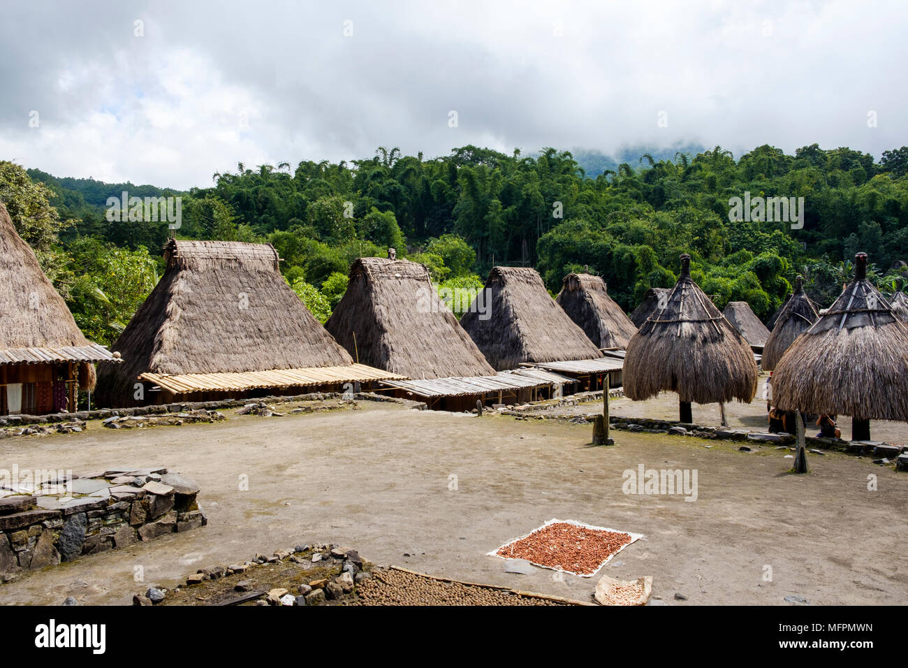 Center yard and houses at Bena traditional village, Ngada District, Island of Flores, Indonesia. - Stock Image