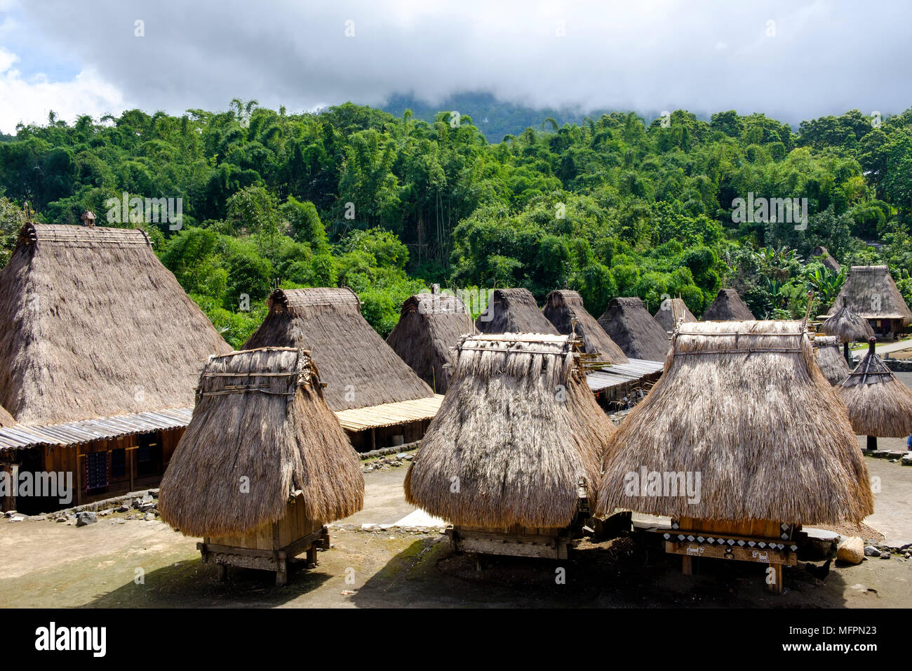 Houses (back) and 'bhaga' (front, small shrines symbolising female ancestors) in Bena, Ngada District, Island of Flores, Indonesia. - Stock Image