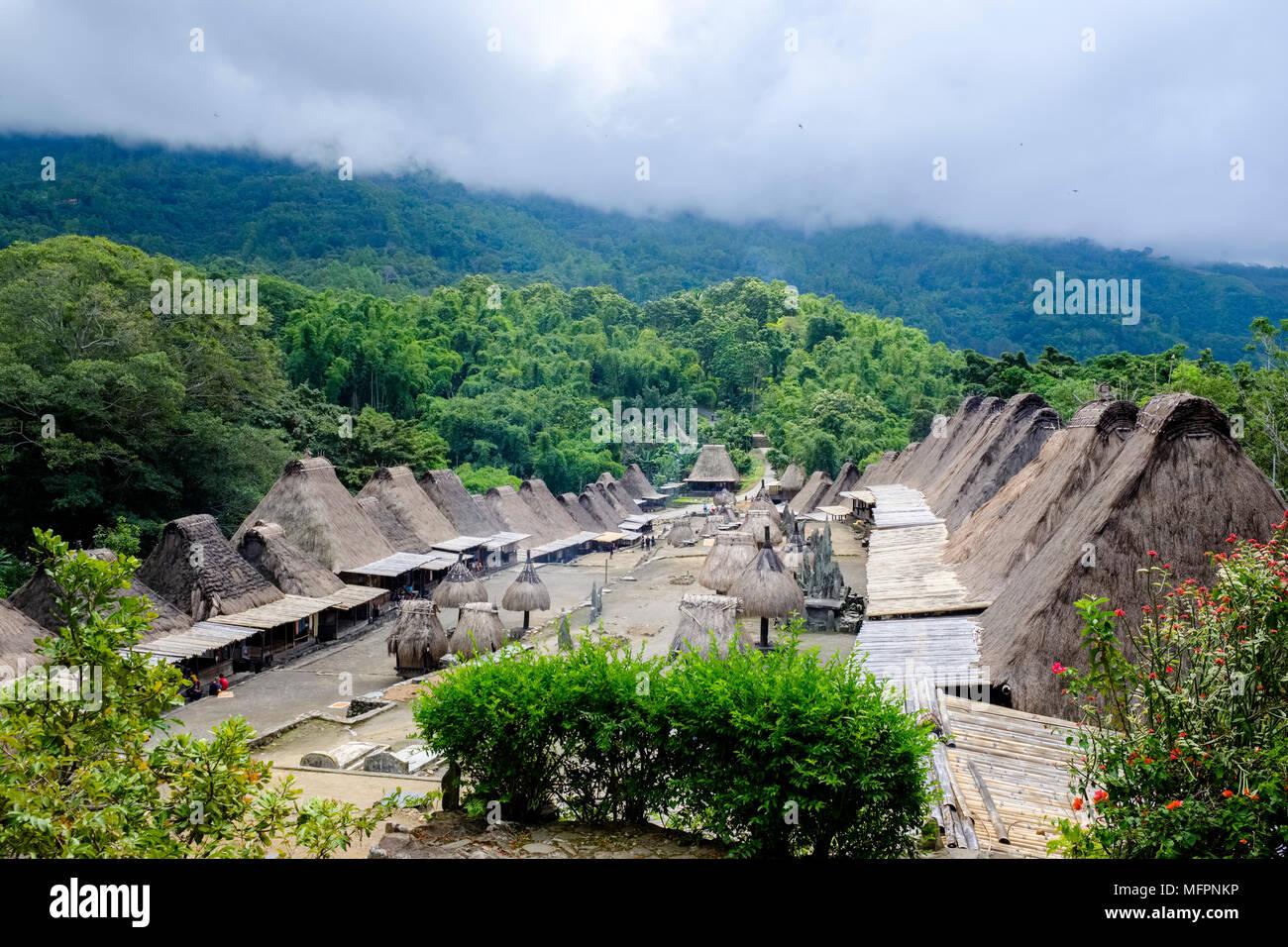 Establishing shot of Bena traditional village, Ngada District, Island of Flores (East Nusa Tenggara), Indonesia. - Stock Image
