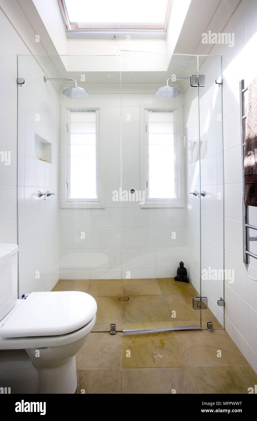 Double shower area in modern bathroom Stock Photo: 181826771 - Alamy