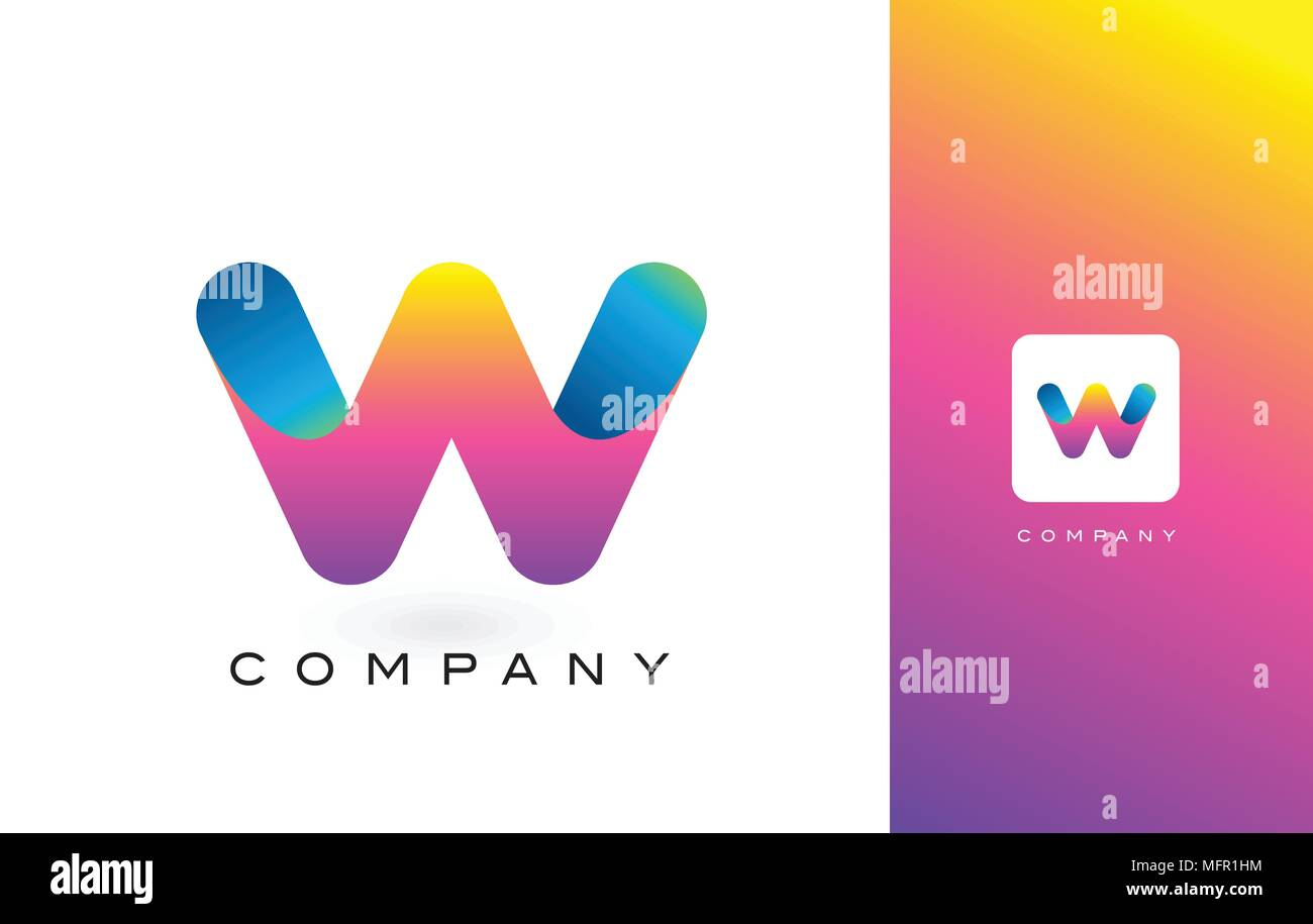 W Logo Letter With Rainbow Vibrant Colors.W Colorful Modern Trendy ...