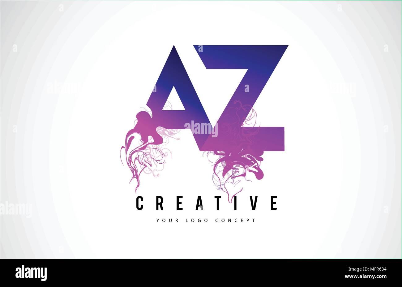 az a z purple letter logo design with creative liquid effect flowing