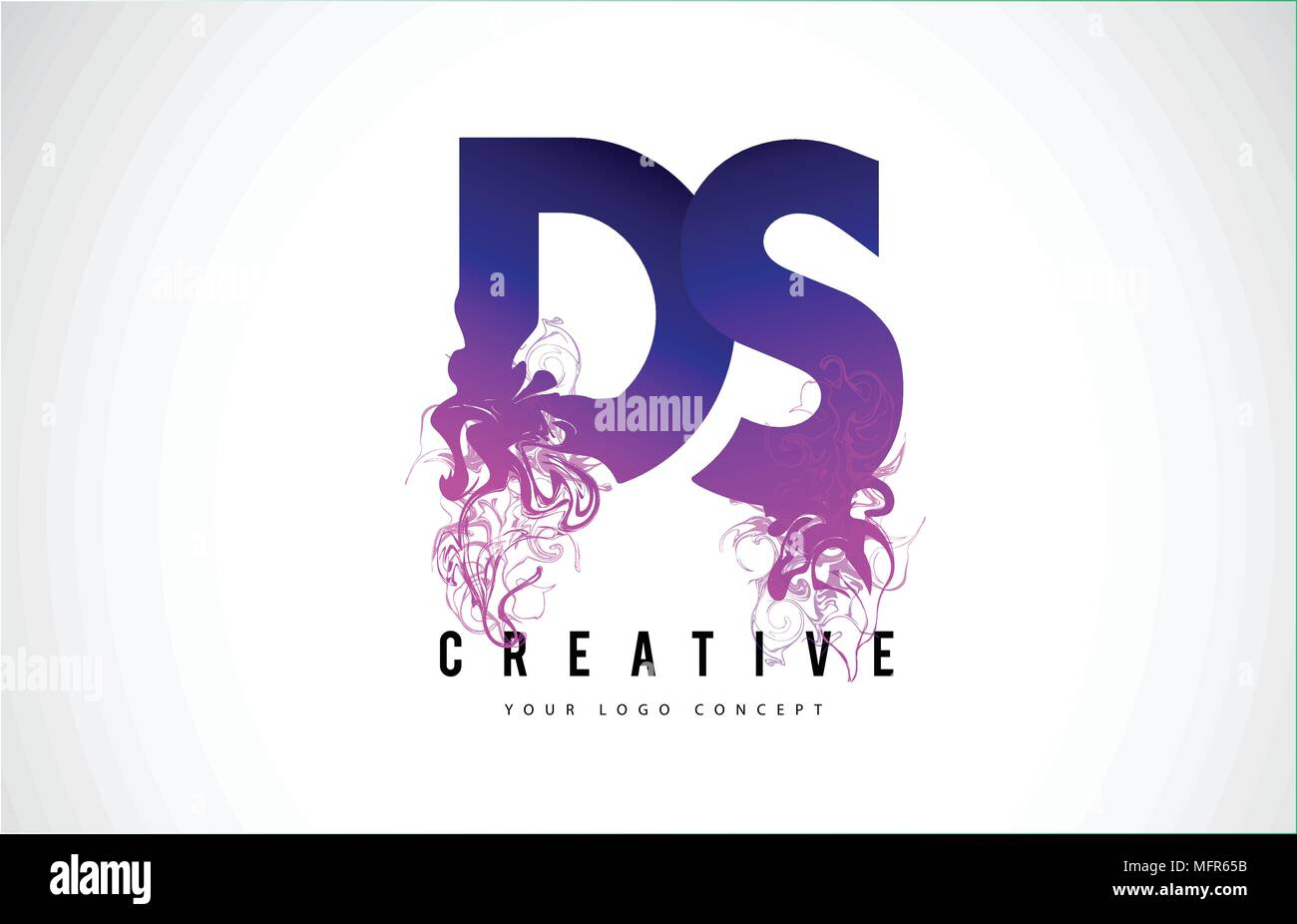 ds d s purple letter logo design with creative liquid effect flowing vector illustration