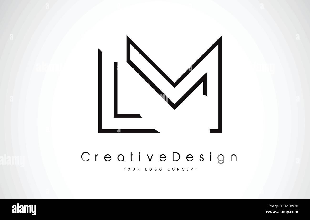 lm l m letter logo design in black colors creative modern letters