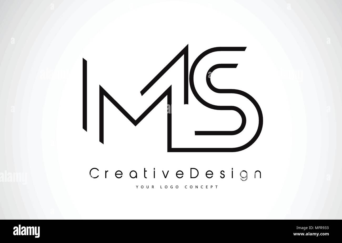 ms m s letter logo design in black colors creative modern letters