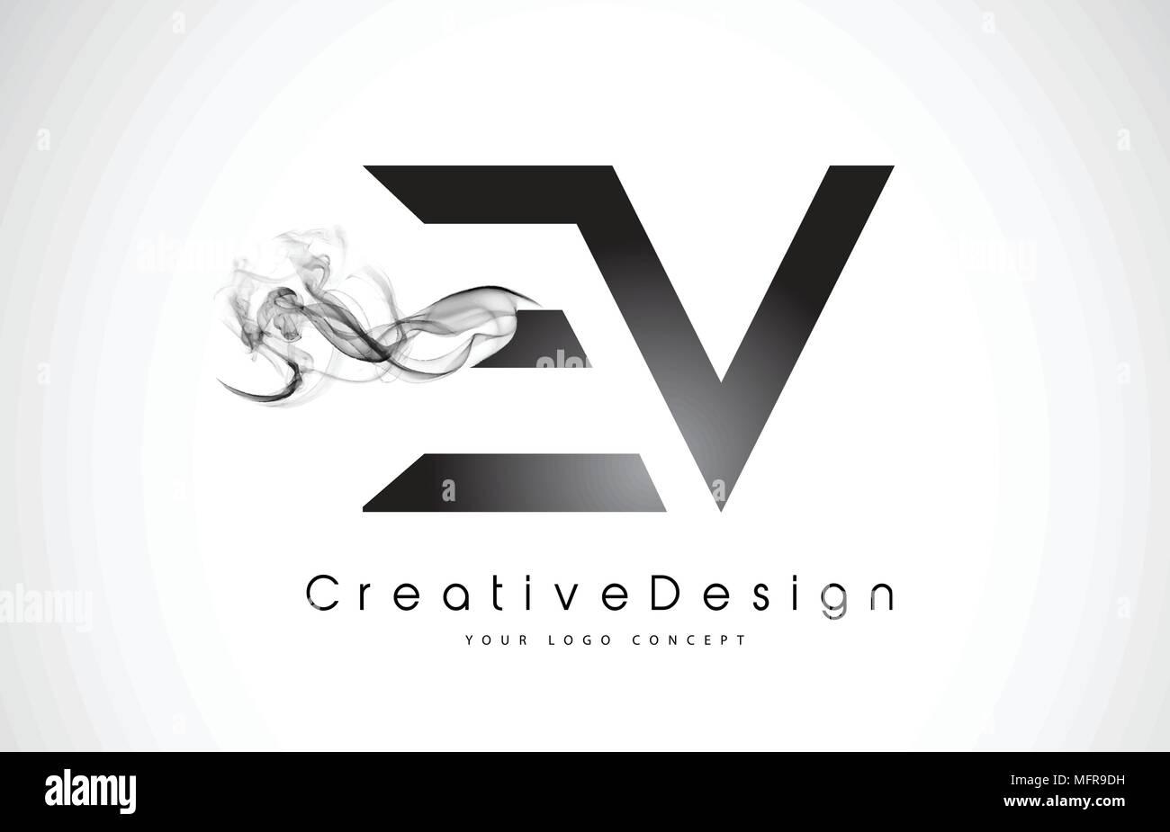 ev letter logo design with black smoke creative modern smoke letters vector icon logo illustration
