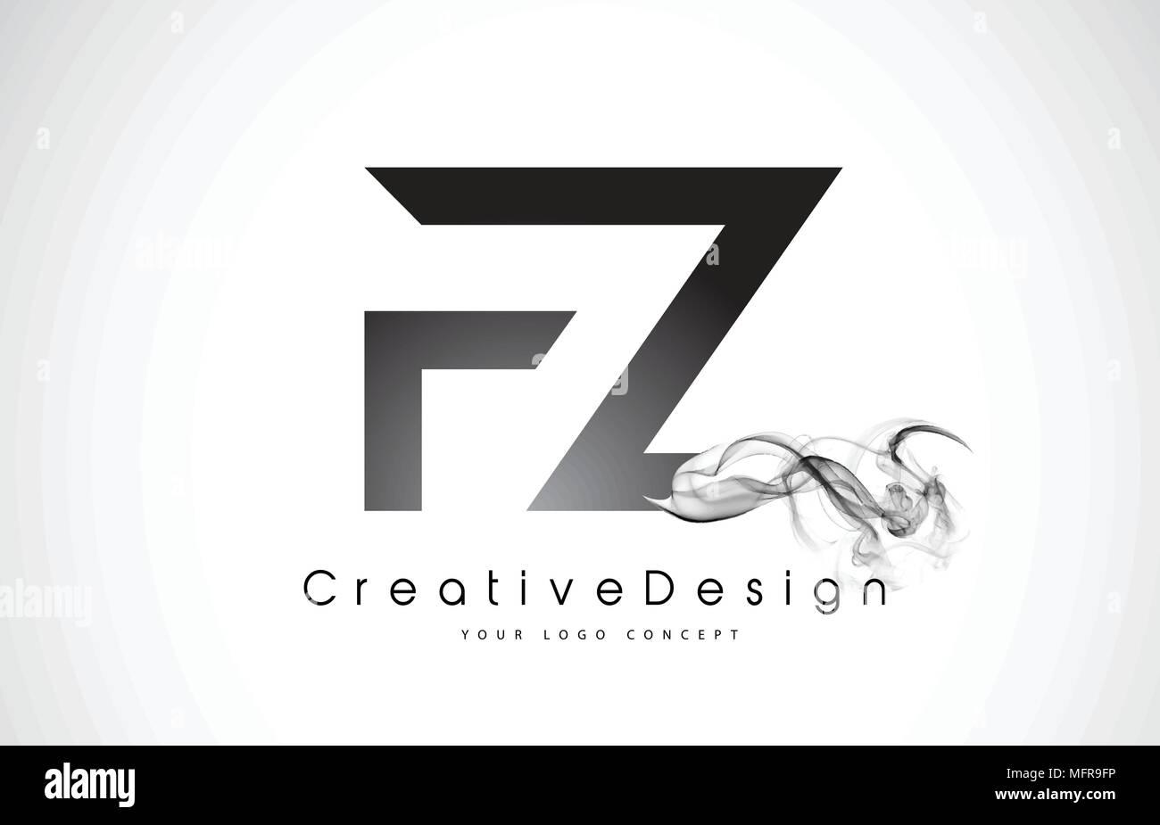 fz letter logo design with black smoke creative modern smoke letters vector icon logo illustration