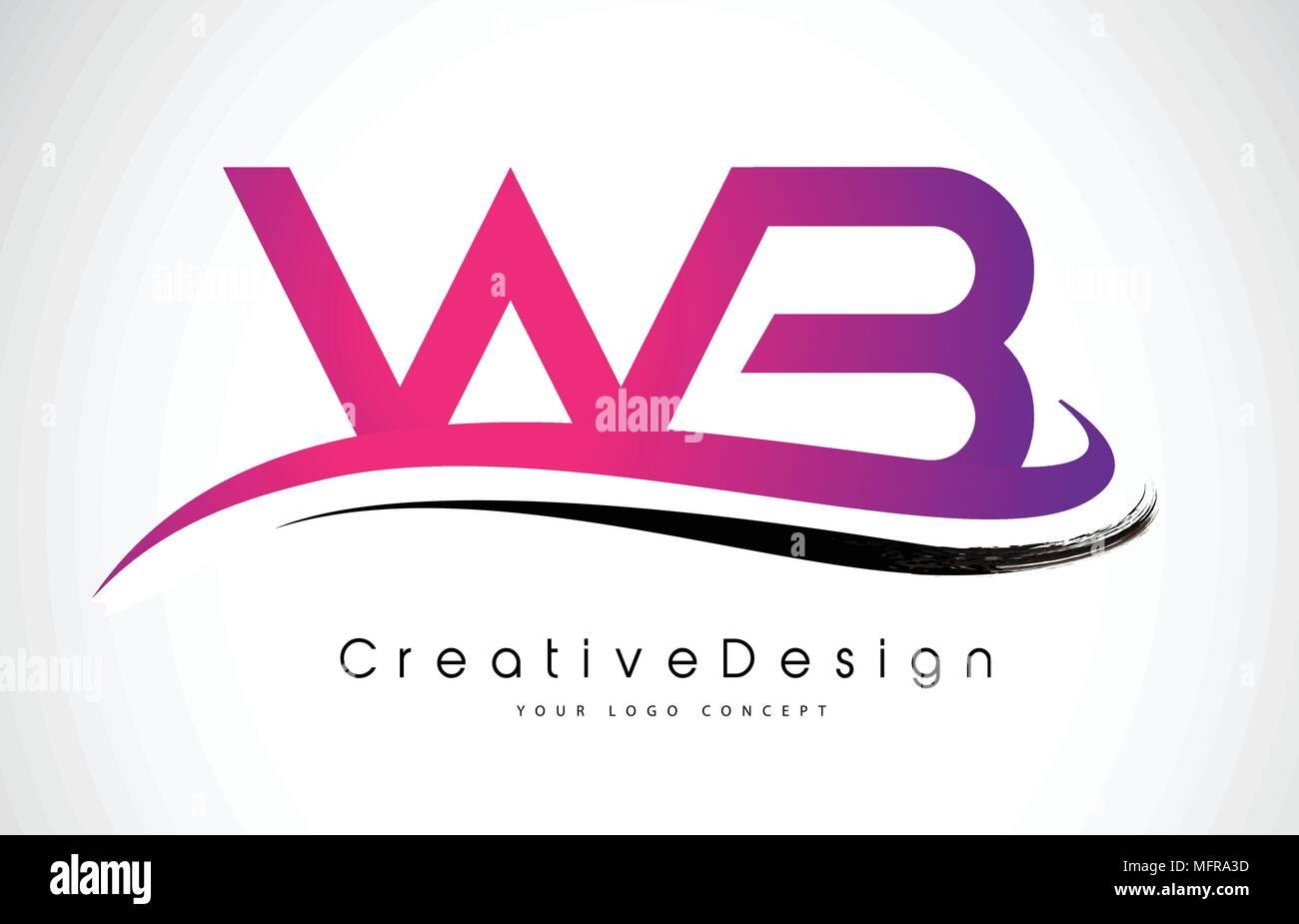 WB W B Letter Logo Design in Black Colors. Creative Modern Letters ...