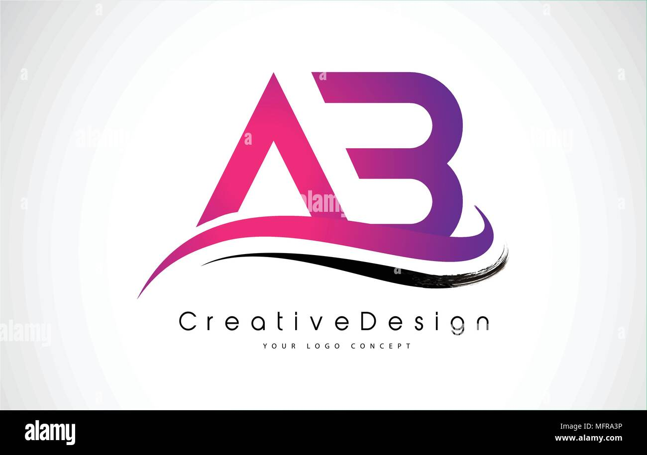 AB Letter Logo Design in Black Colors. Creative Modern Letters ...