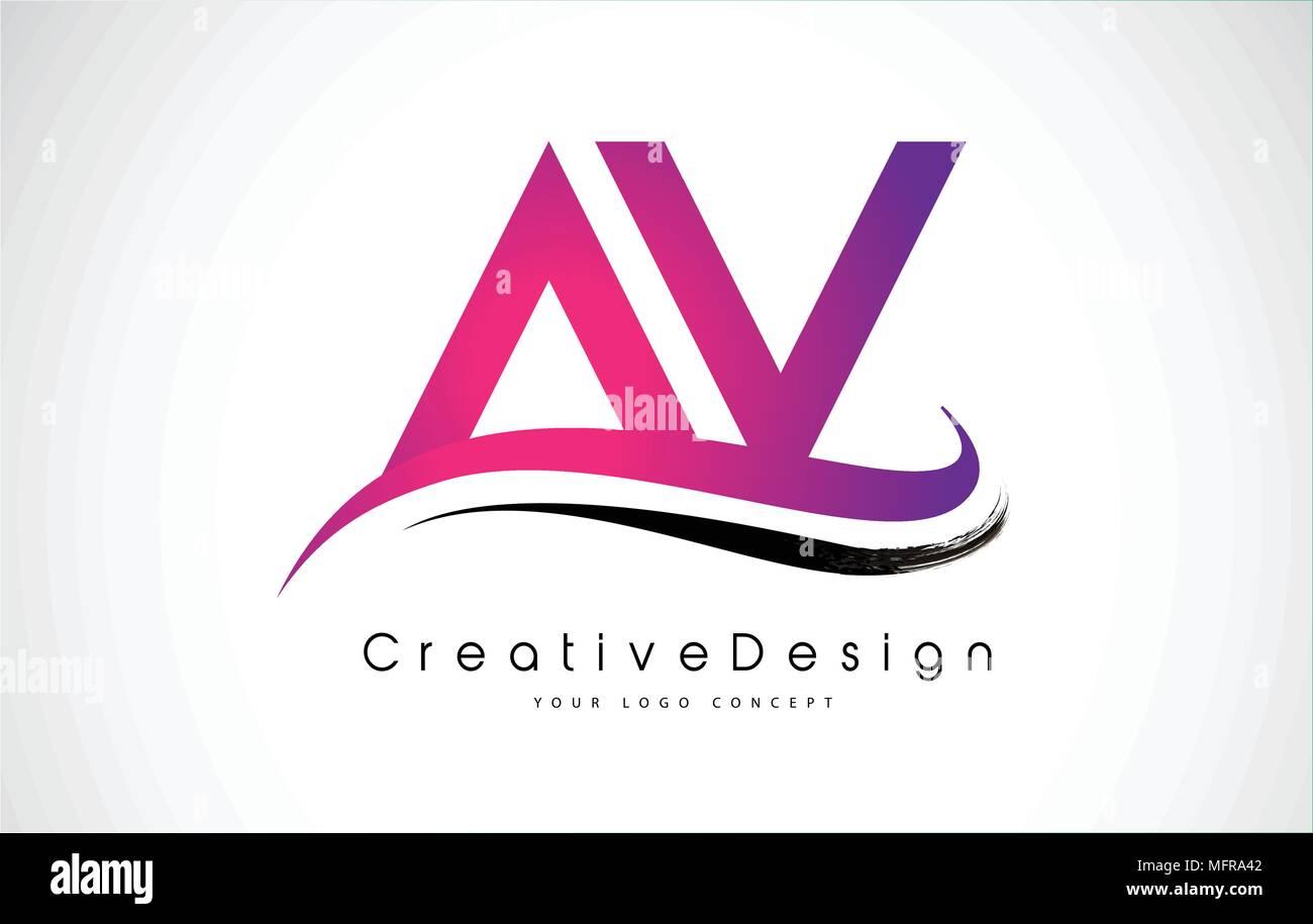 AV Letter Logo Design in Black Colors. Creative Modern Letters ...
