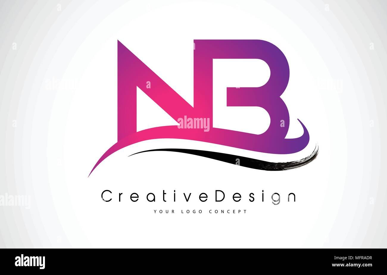 NB N B Letter Logo Design in Black Colors. Creative Modern Letters ...