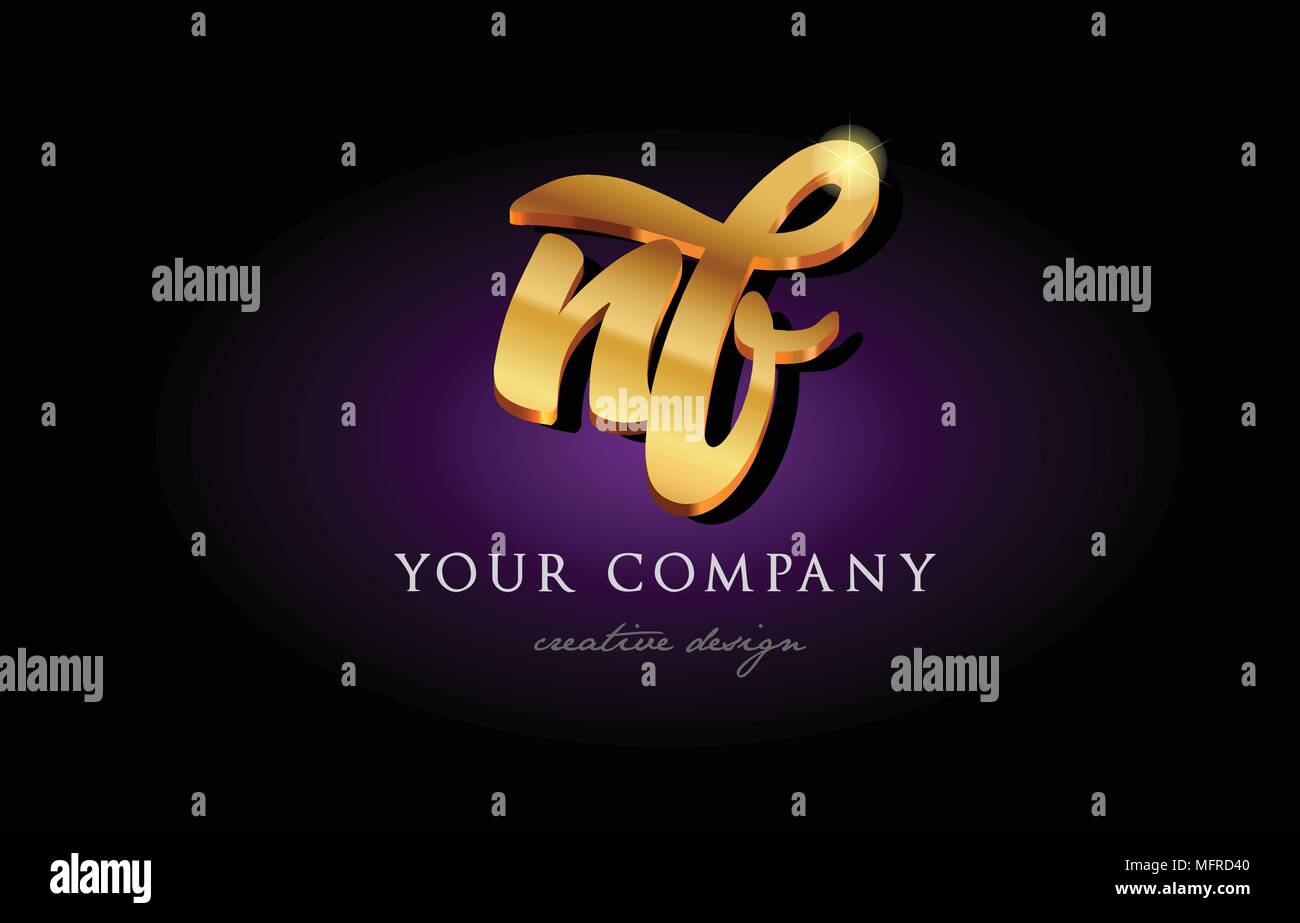 Nf N F Alphabet Combination Letter Logo In Gold Golden 3d Metal