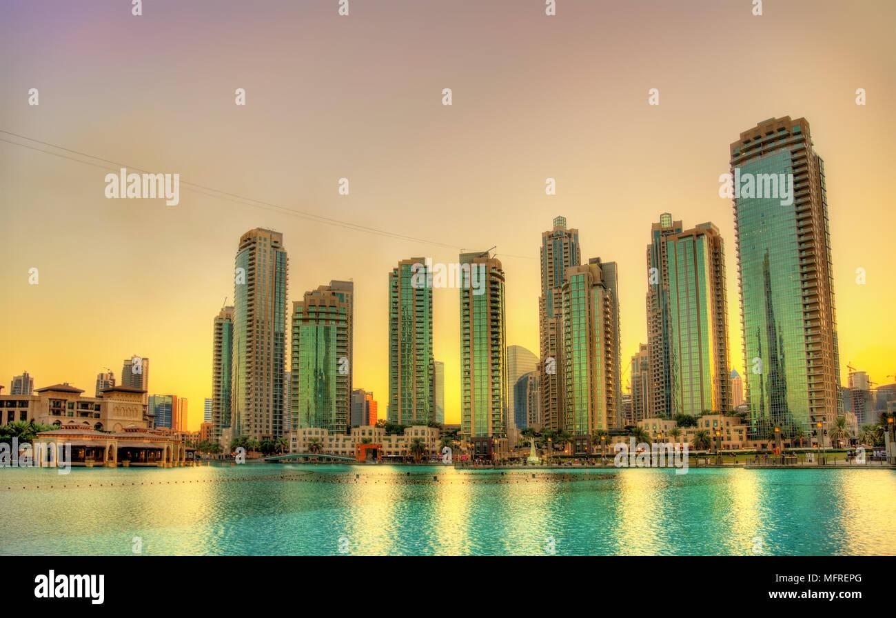 Sunset in Dubai Downtown, United Arab Emirates - Stock Image