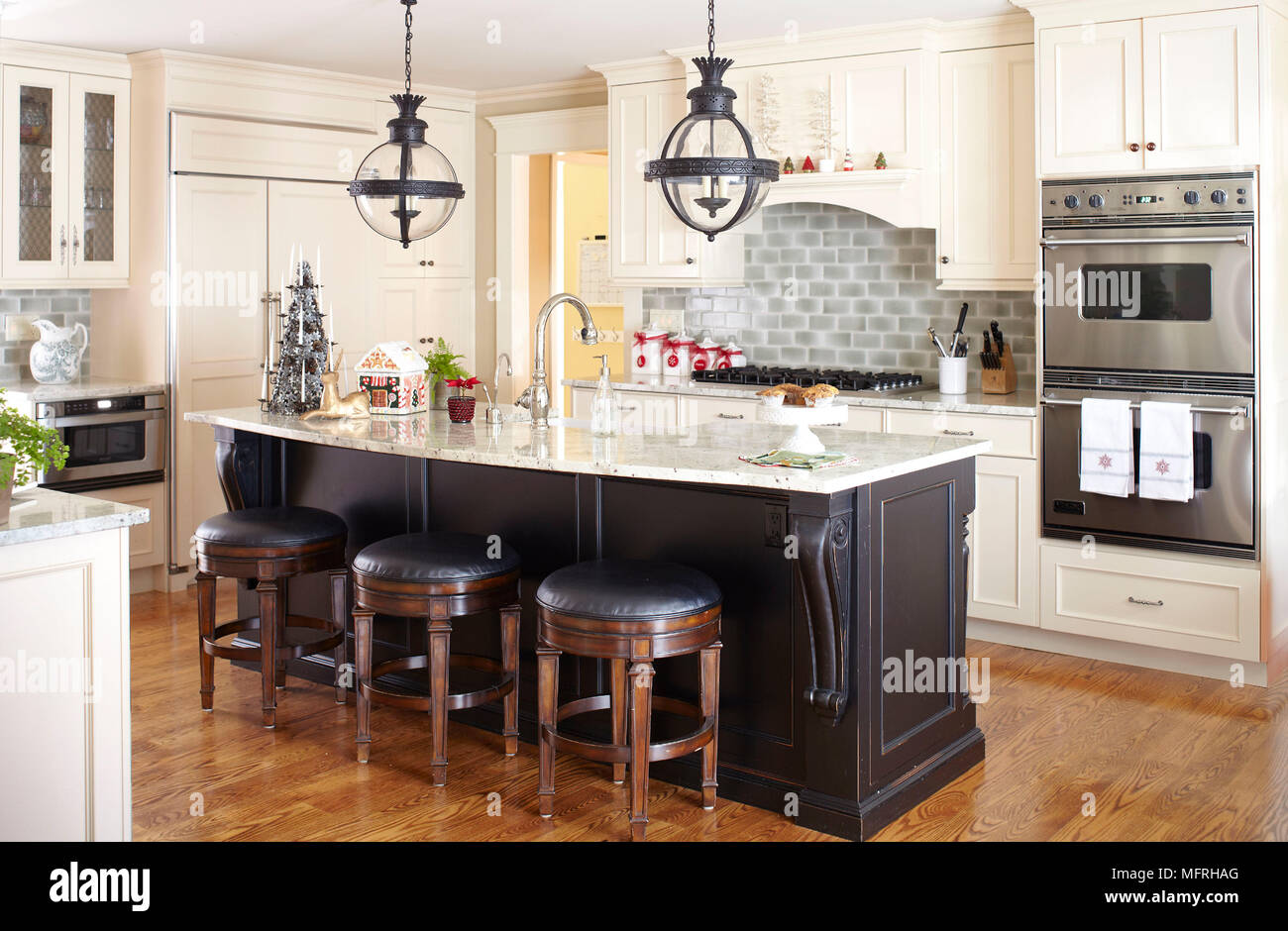 Bar Stools At Kitchen Island Breakfast Bar In Traditional Style Kitchen,  Fairfield, New Jersey, USA