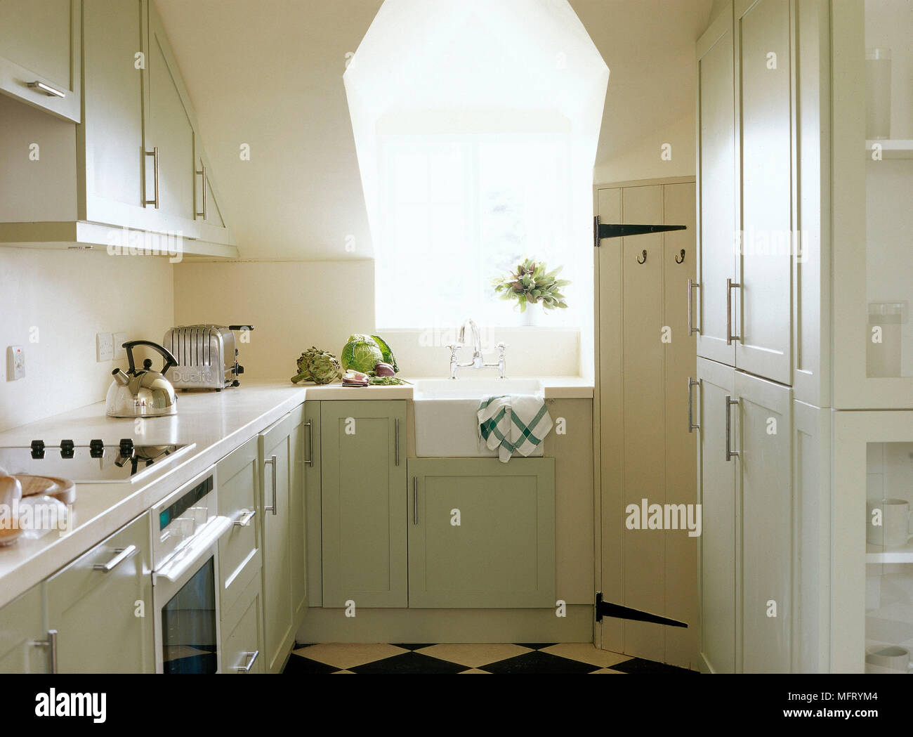 Modern neutral kitchen Belfast sink painted units interiors rooms ...