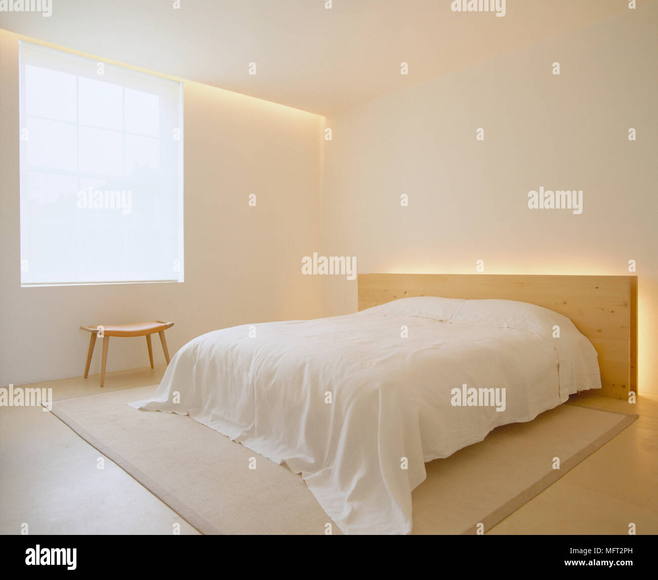 A Modern Neutral Minimalist Bedroom With Double Bed Simple Wooden