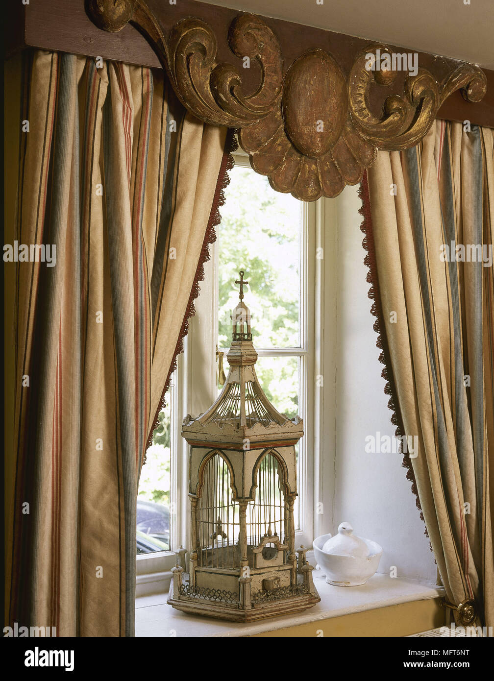 Window Gold Striped Curtains Carved Pelmet Antique Birdcage Interiors Detail Treatments Drapes