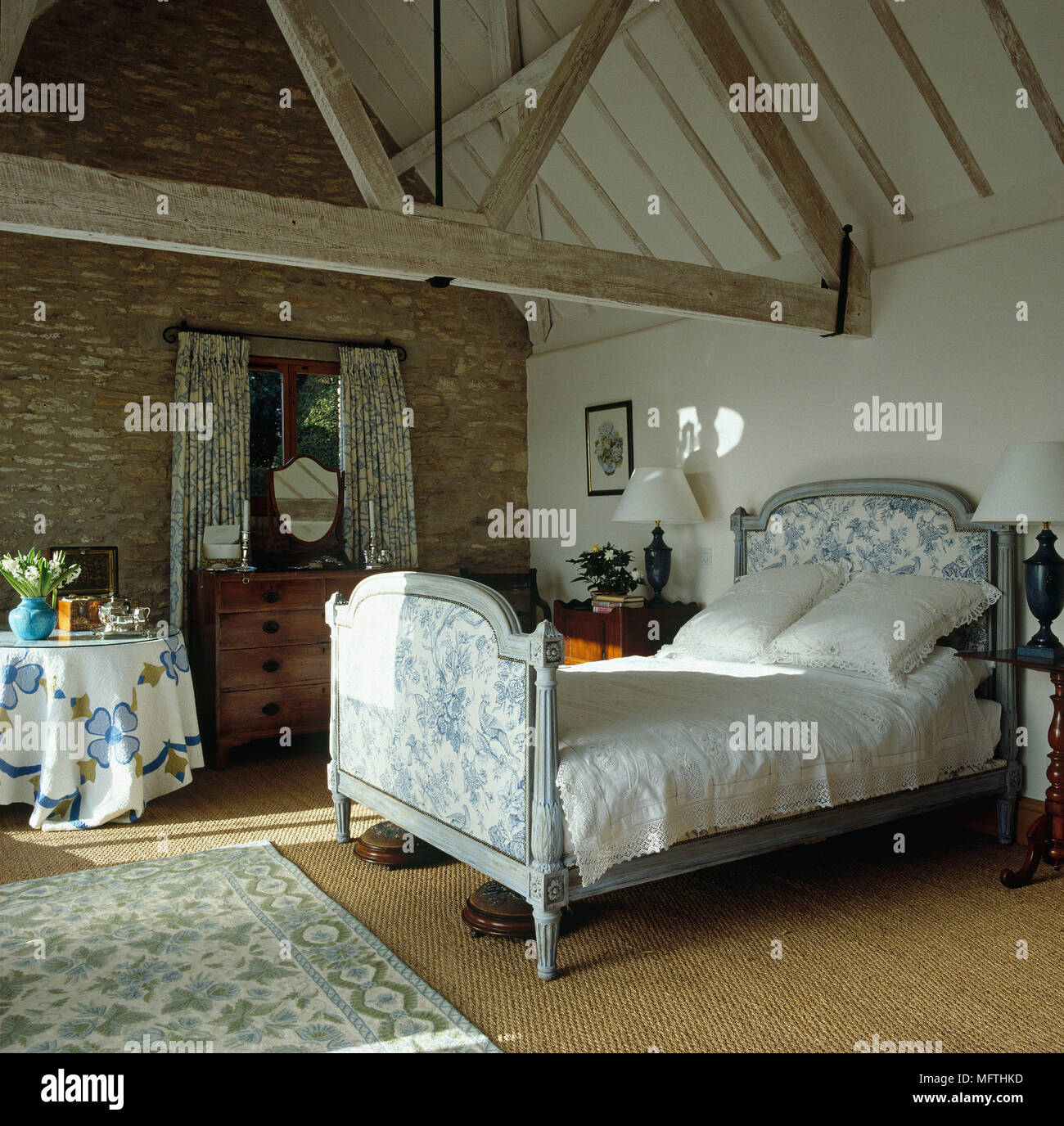 Antique French bed in country style bedroom Stock Photo: 181864241 ...