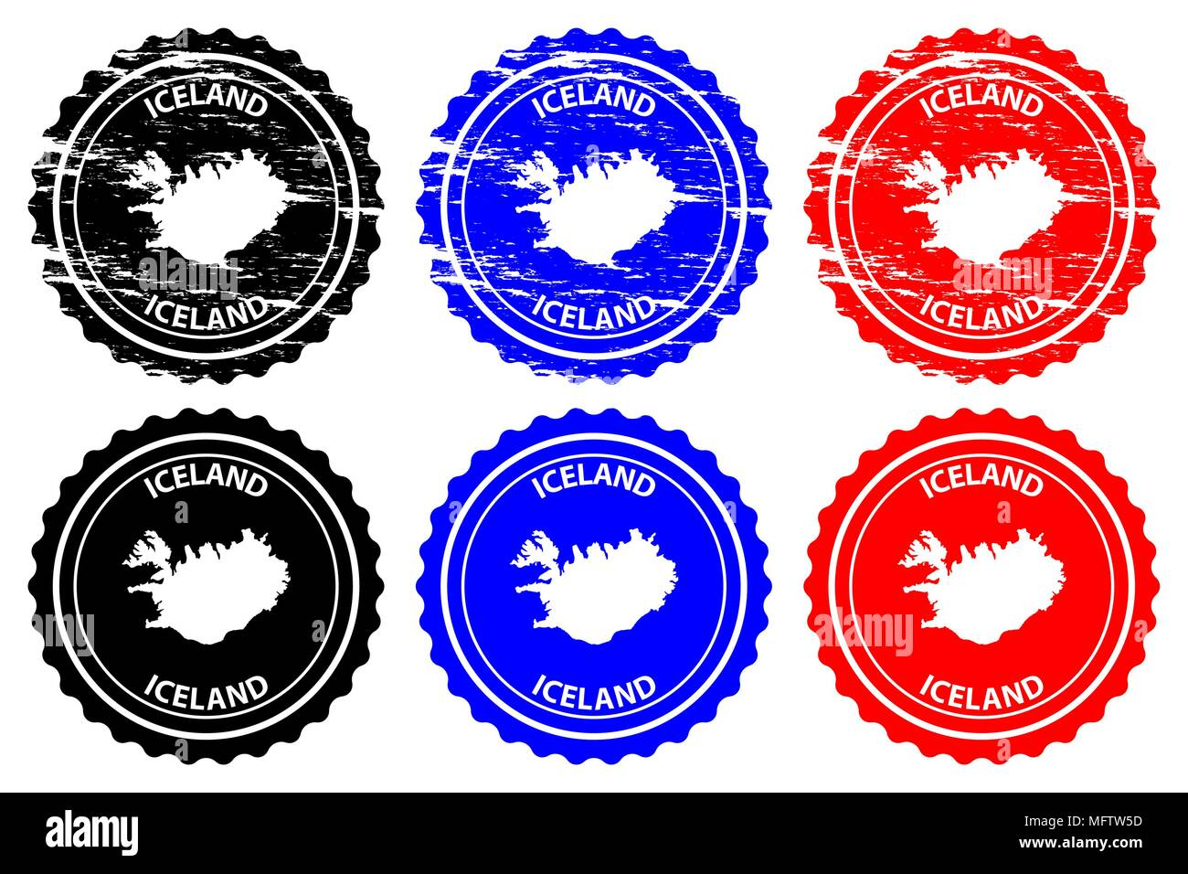 Iceland - rubber stamp - vector, Iceland map pattern - sticker ...