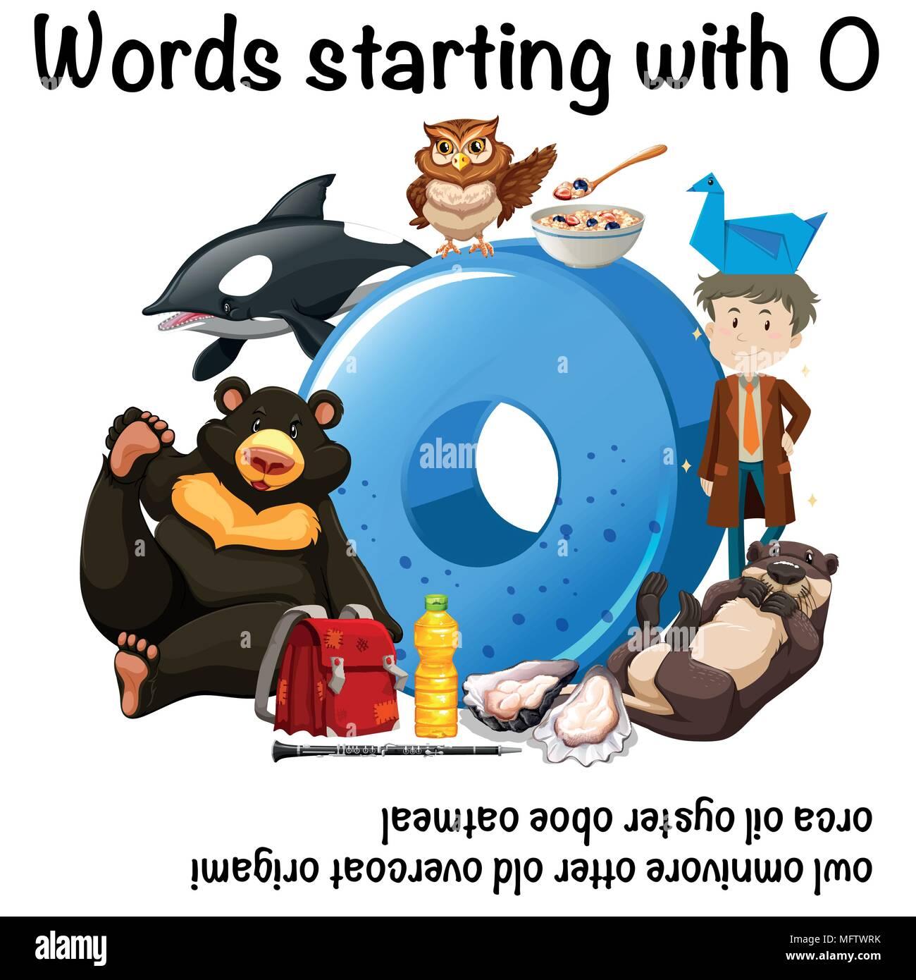 Words Starting With Letter O Illustration Stock Vector Art
