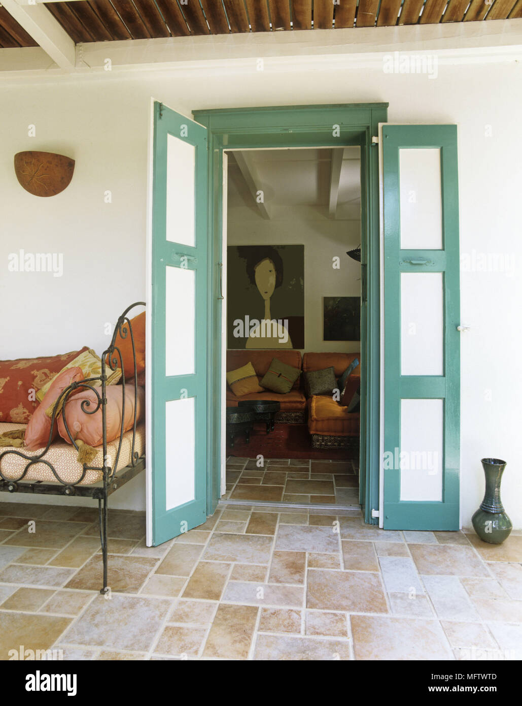 Details Of The Traditional Front Porch With Stone Floor View Through