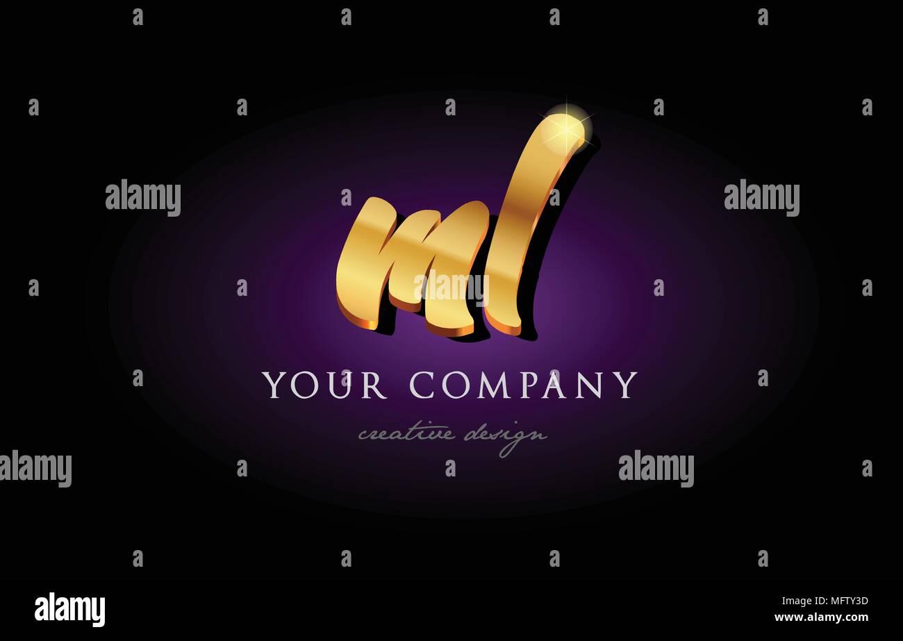 Ml M L Alphabet Combination Letter Logo In Gold Golden 3d Metal