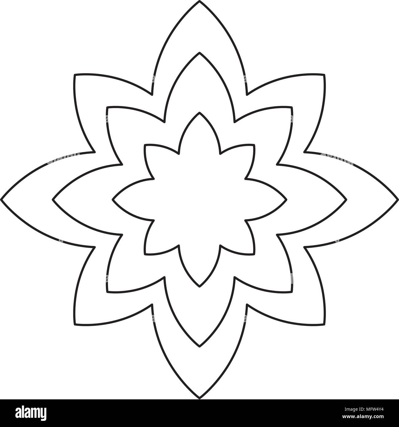 Lotus Flower Icon Yoga Symbol Over White Background Vector