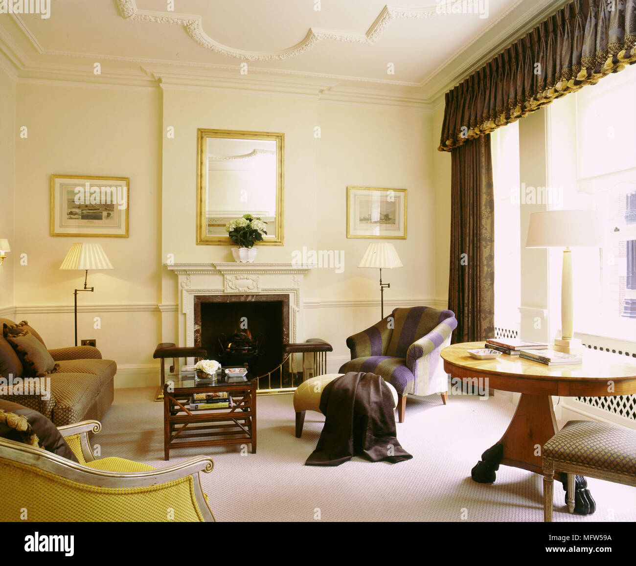 Traditional Cream Sitting Room High Ceilings Curtains Pelmet Fireplace Period Furniture