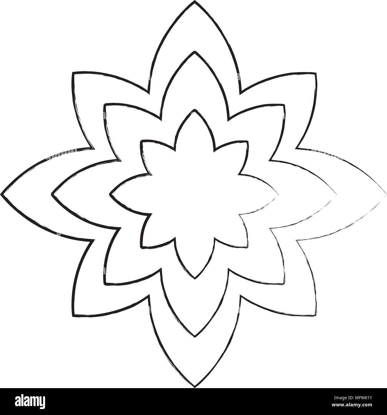 Sketch Of Lotus Flower Icon Yoga Symbol Over White Background