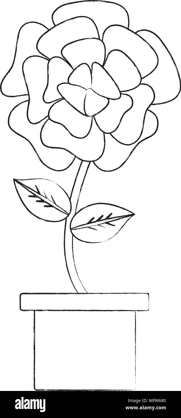 Sketch of beautiful flower in a pot over white background vector sketch of beautiful flower in a pot over white background vector illustration izmirmasajfo