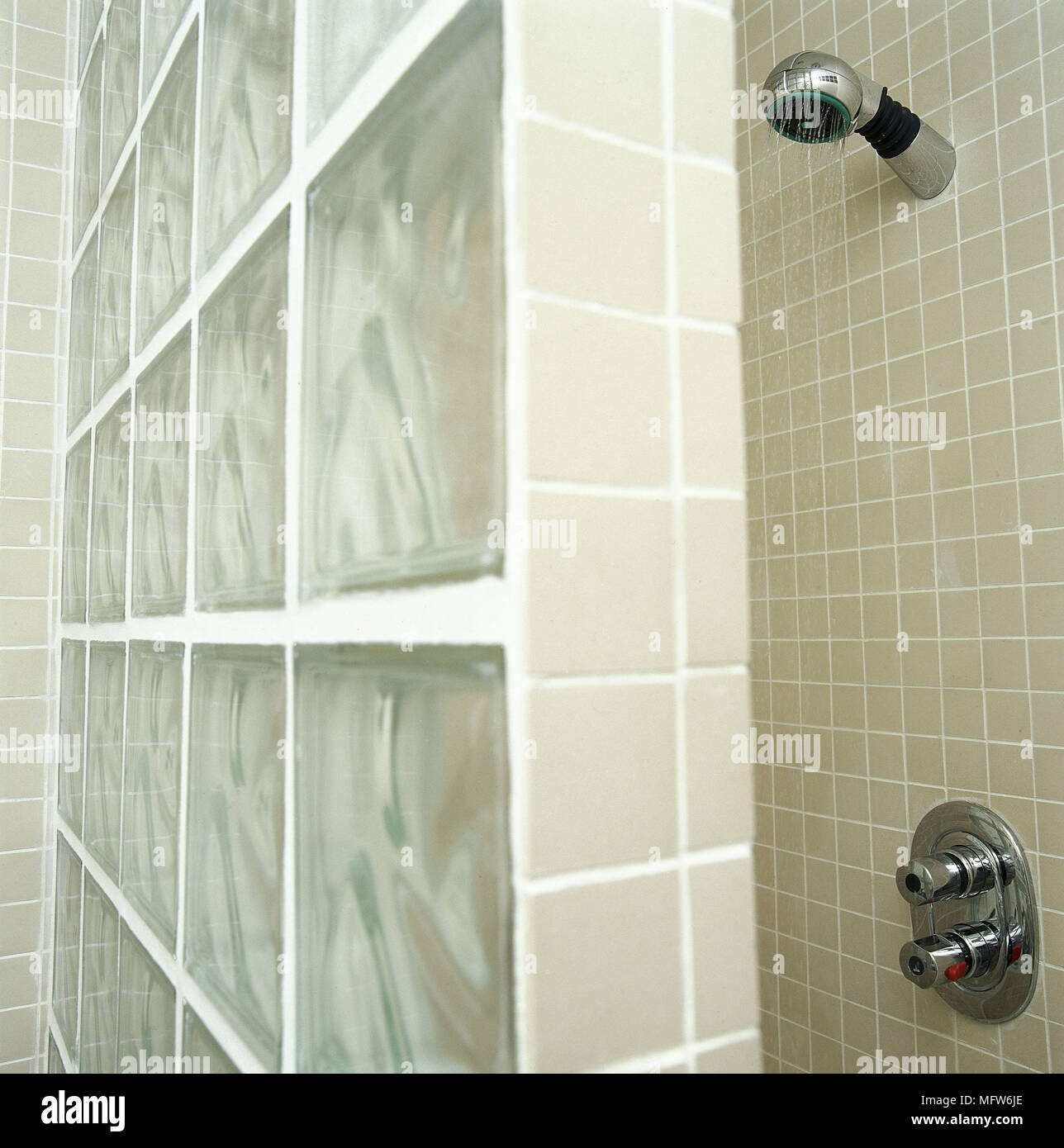 Modern bathroom detail mosaic tiles shower area glass block wall ...