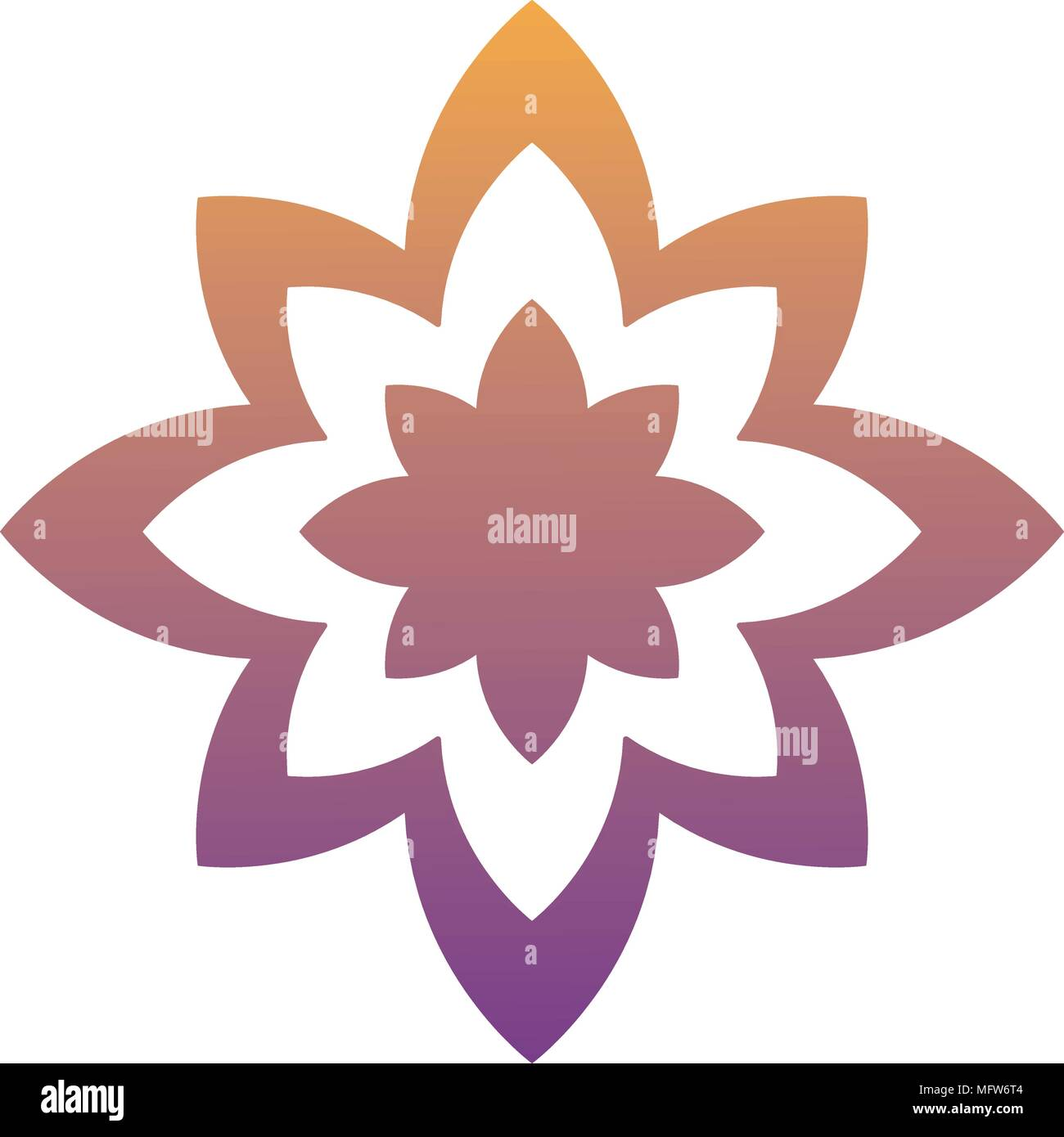 Lotus Flower Icon Yoga Symbol Over White Background Colorful