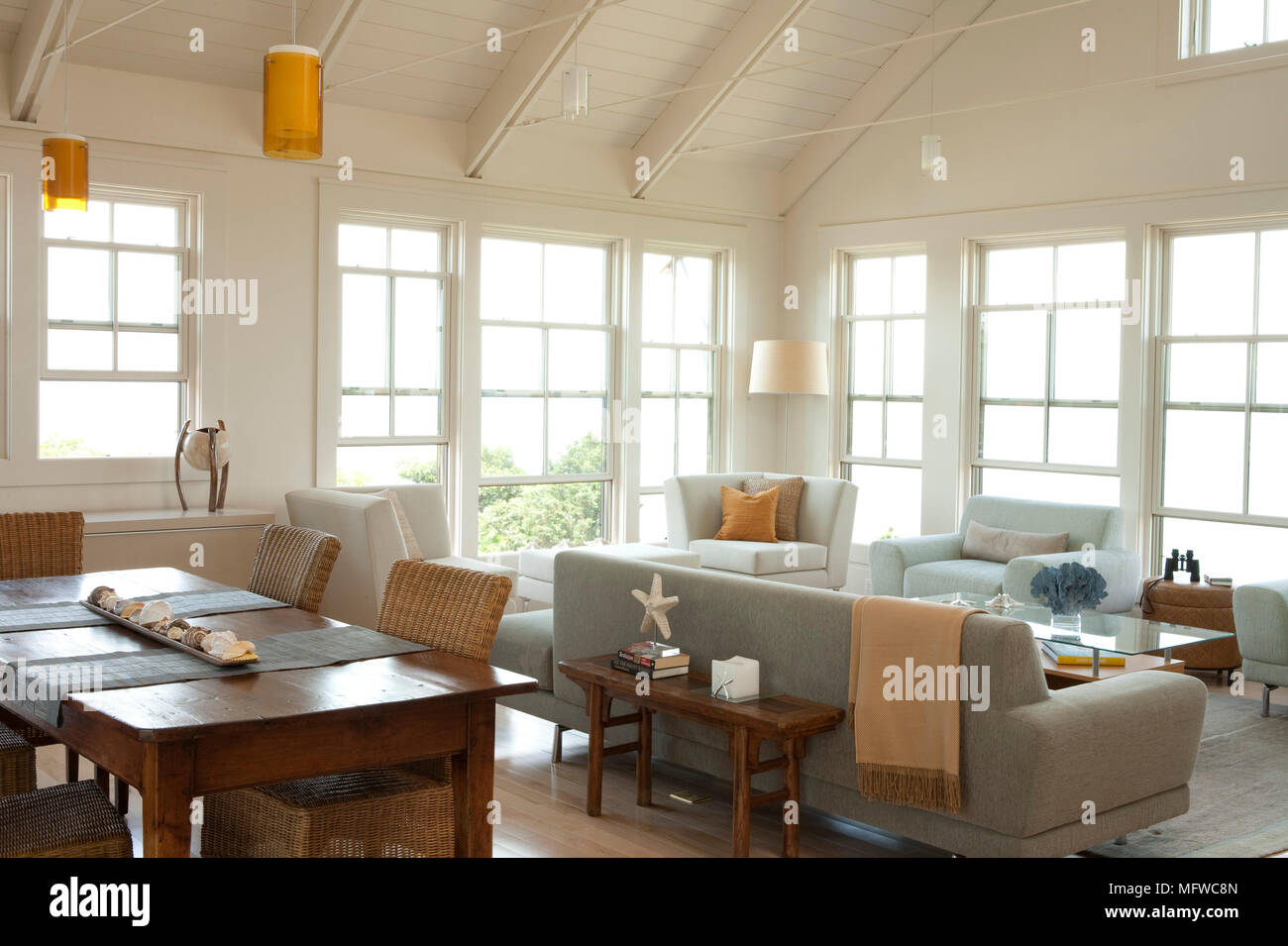 Wooden Dining Table And Seating In Open Plan Modern Country Style Sitting  Room
