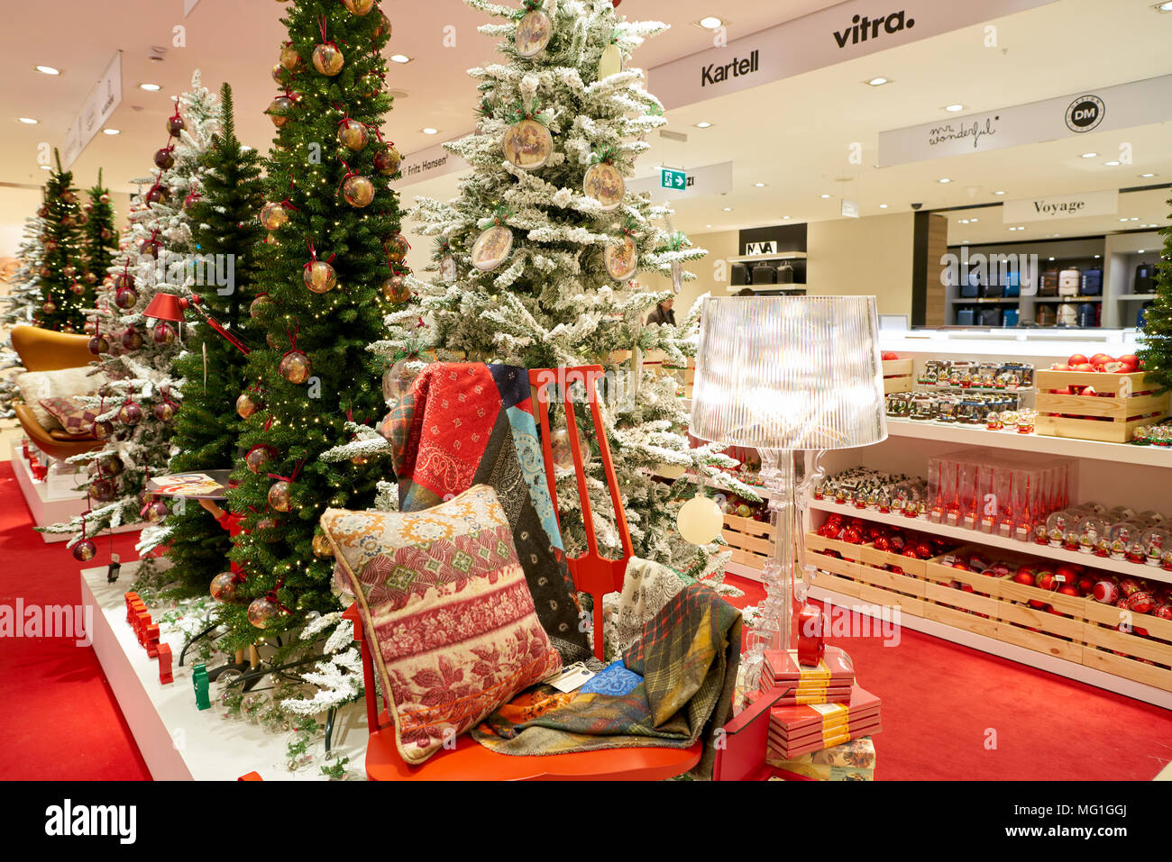 rome italy circa november 2017 christmas decorations on display at a second flagship store of rinascente in rome