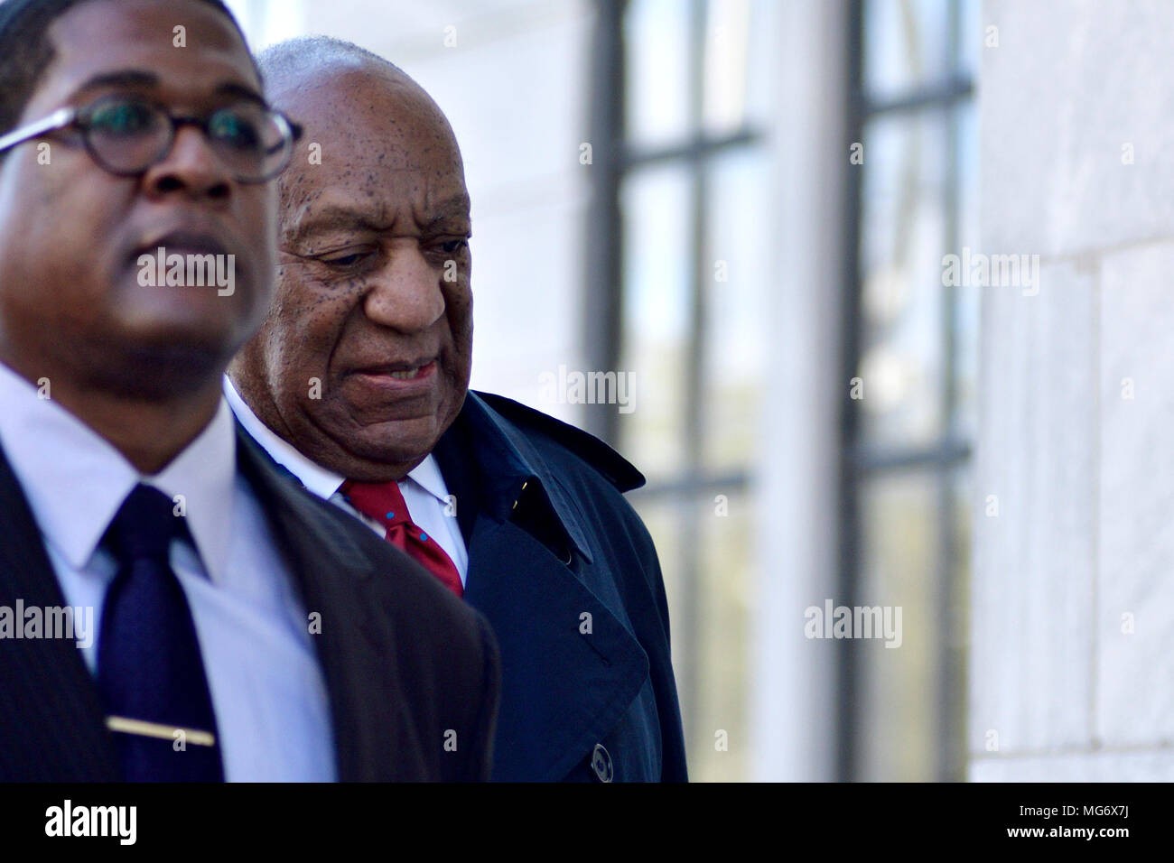 Norristown, USA. 26th Apr, 2018. Bill Cosby, actor, comedian and entertainer arrives for day 14 of the sexual assault trail at Montgomery County Court House in Norristown, PA, USA, on April 26, 2018. Credit: Bastiaan Slabbers/Alamy Live News - Stock Image