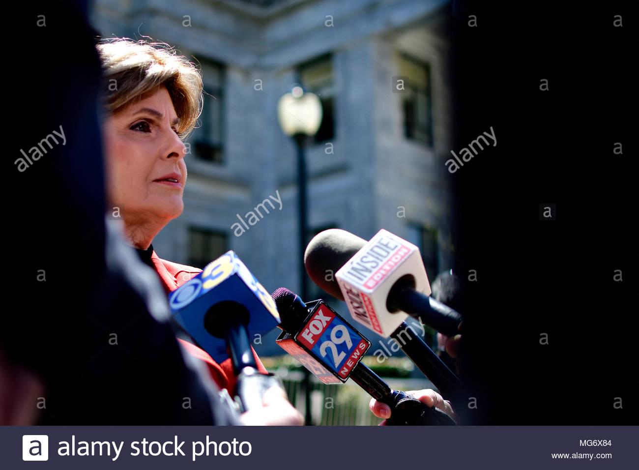 Norristown, USA. 26th Apr, 2018. Attorney Gloria Allred speaks to members of the media outside, during the Bill Cosby sexual assault trial at Montgomery County Court House in Norristown, PA, USA, on April 26, 2018. Credit: Bastiaan Slabbers/Alamy Live News - Stock Image