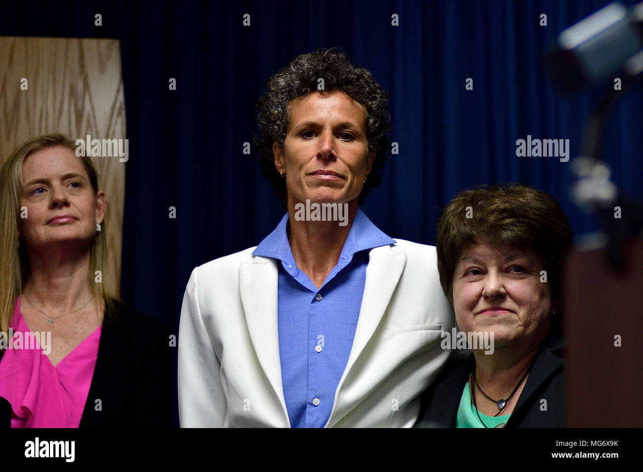 Norristown, USA. 26th Apr, 2018. Accuser Andrea Constand attends a press conference of the Prosecution after the guilty verdict in the Bill Cosby sexual assault trial, at Montgomery County Court House in Norristown, PA, USA, on April 26, 2018. Credit: Bastiaan Slabbers/Alamy Live News - Stock Image
