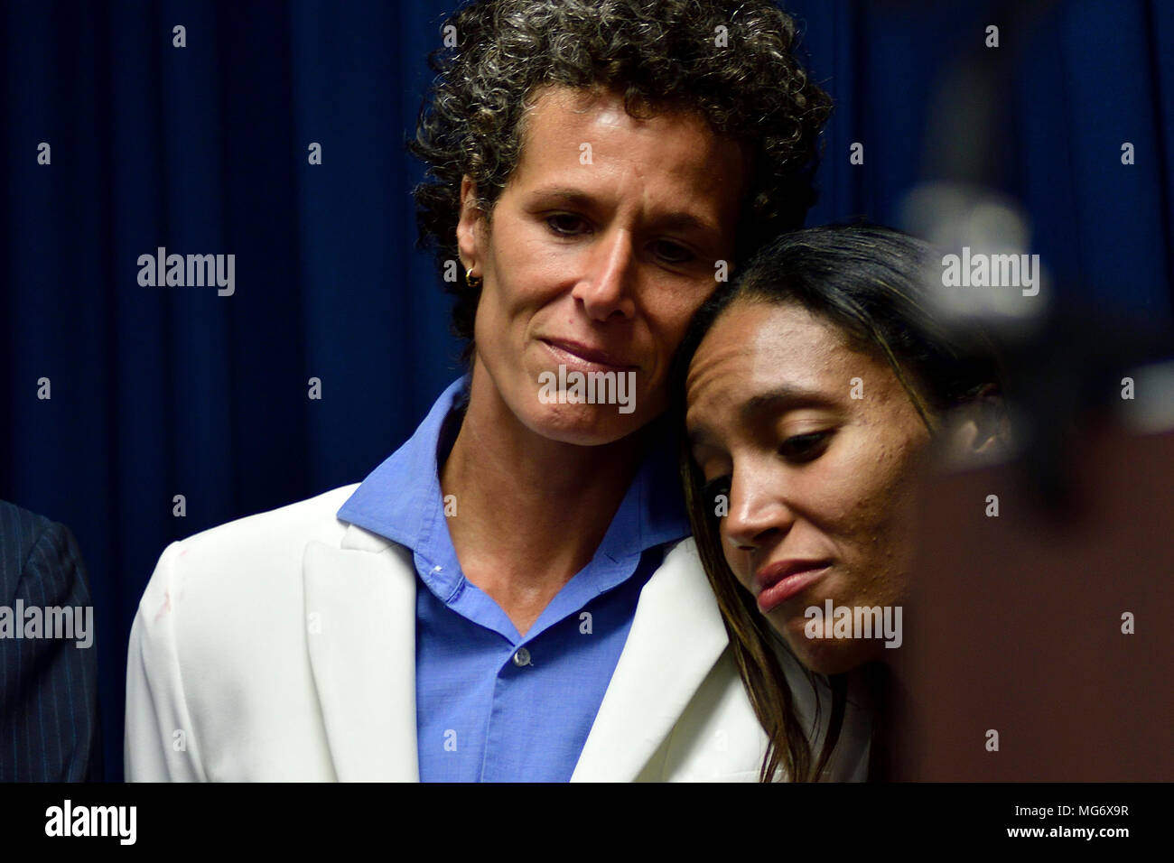Norristown, USA. 26th Apr, 2018. Accuser Andrea Constand attends a press conveners of the Prosecution after the guilty verdict in the Bill Cosby sexual assault trial, at Montgomery County Court House in Norristown, PA, USA, on April 26, 2018. Credit: Bastiaan Slabbers/Alamy Live News - Stock Image