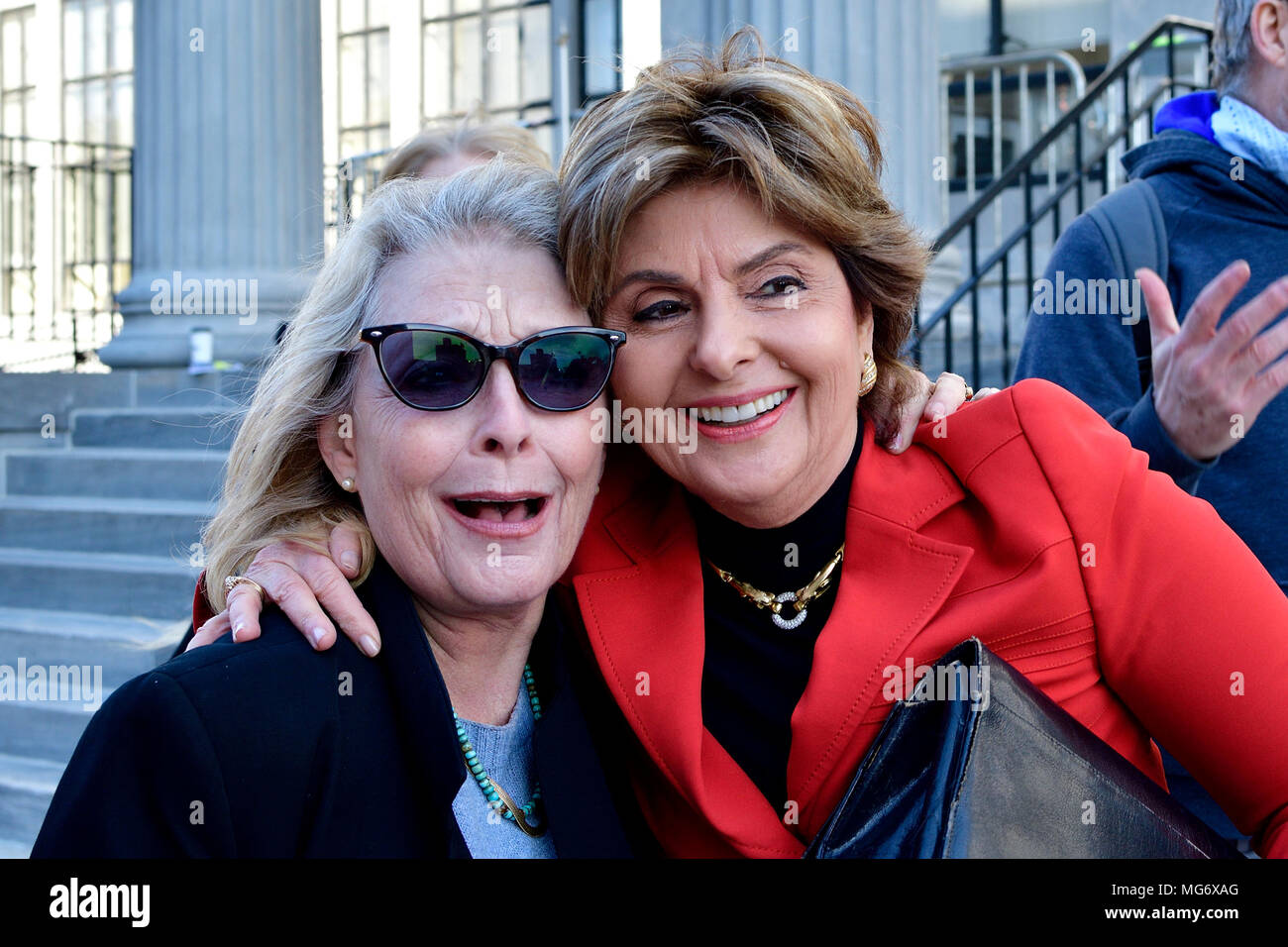 Norristown, USA. 26th Apr, 2018. Attorney Gloria Allred joins victims and supporters celebrate outside the court house after the guilty verdict in the Bill Cosby sexual assault trial, at Montgomery County Court House in Norristown, PA, USA, on April 26, 2018. Credit: Bastiaan Slabbers/Alamy Live News - Stock Image