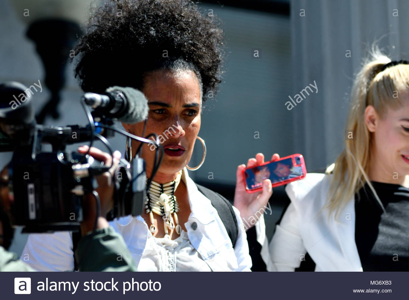 Norristown, USA. 26th Apr, 2018. Scenes outside the court house after the guilty verdict in the Bill Cosby sexual assault trial, at Montgomery County Court House in Norristown, PA, USA, on April 26, 2018. Credit: Bastiaan Slabbers/Alamy Live News - Stock Image
