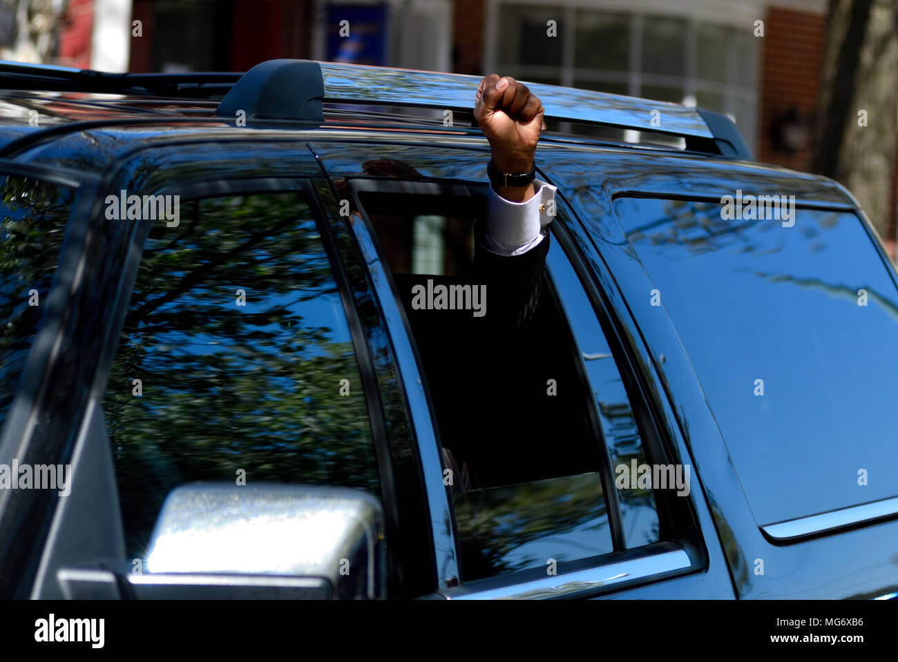 Norristown, USA. 26th Apr, 2018. Andrew Wyatt, spokesperson for Bill Cosby, raises a fist upon departure after learning of the guilty verdict in the sexual assault trial, at Montgomery County Court House in Norristown, PA, USA, on April 26, 2018. Credit: Bastiaan Slabbers/Alamy Live News - Stock Image