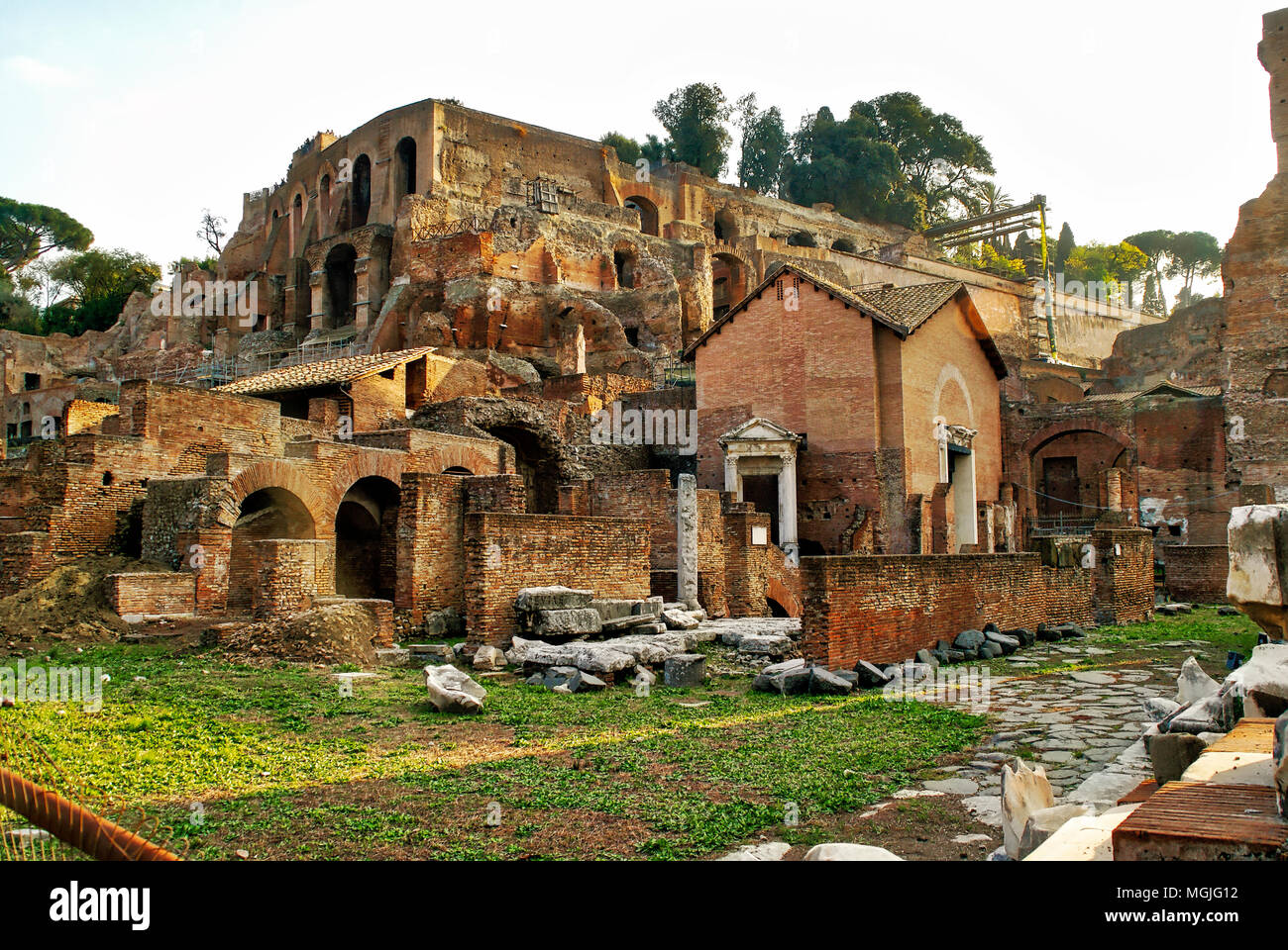 Reconstruction and excavation in this area in the Roman Forum. Rome, Italy - Stock Image