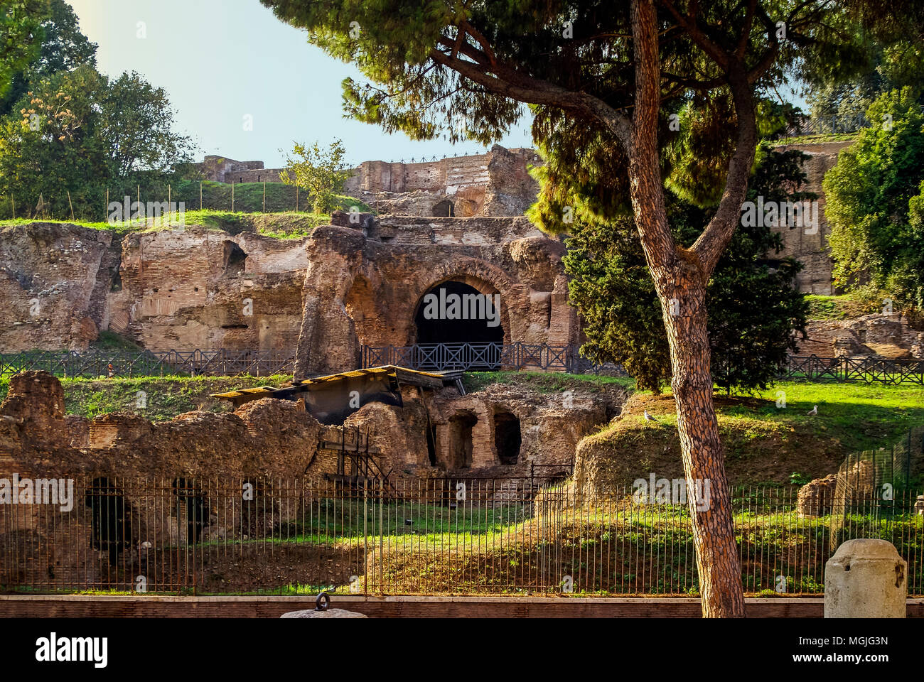 Archaeological excavations in the area of the Roman Forum. Rome Italy - Stock Image