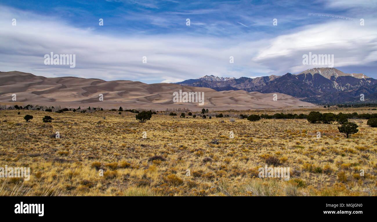The beginning of the dunes. Great Sand Dunes National Park; Colorado; USA; early spring - Stock Image