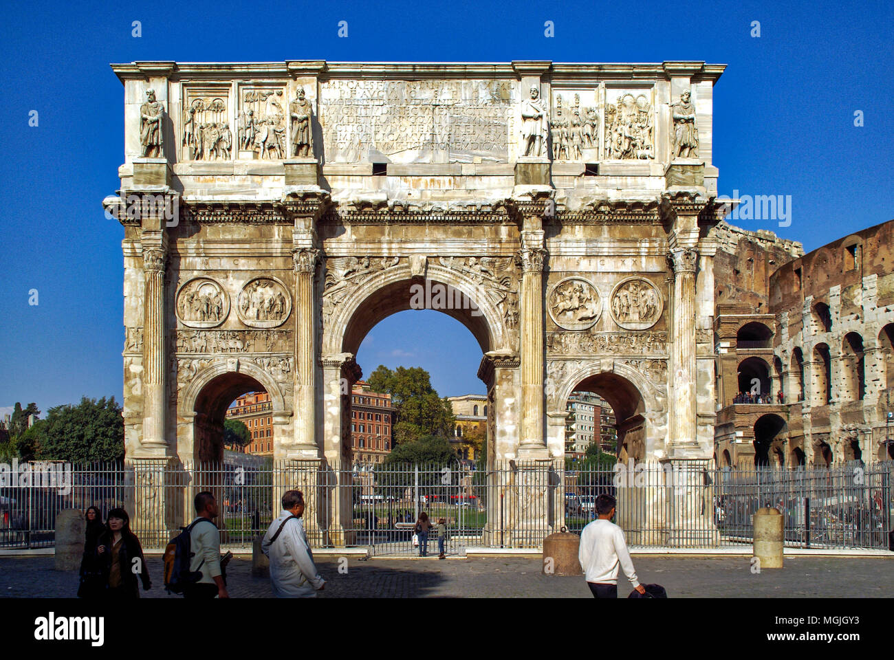 Rome, Italy. Arch of Constantine at the Roman Forum - Stock Image